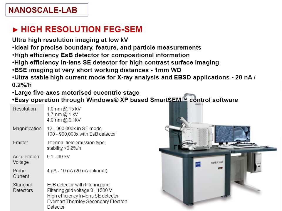 HIGH RESOLUTION FEG-SEM Ultra high resolution imaging at low kV Ideal for precise boundary, feature, and particle measurements High efficiency EsB det
