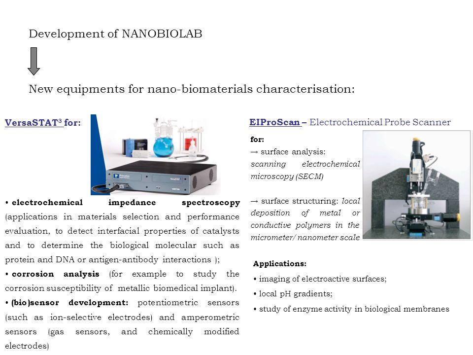Development of NANOBIOLAB New equipments for nano-biomaterials characterisation: VersaSTAT 3 for: electrochemical impedance spectroscopy (applications