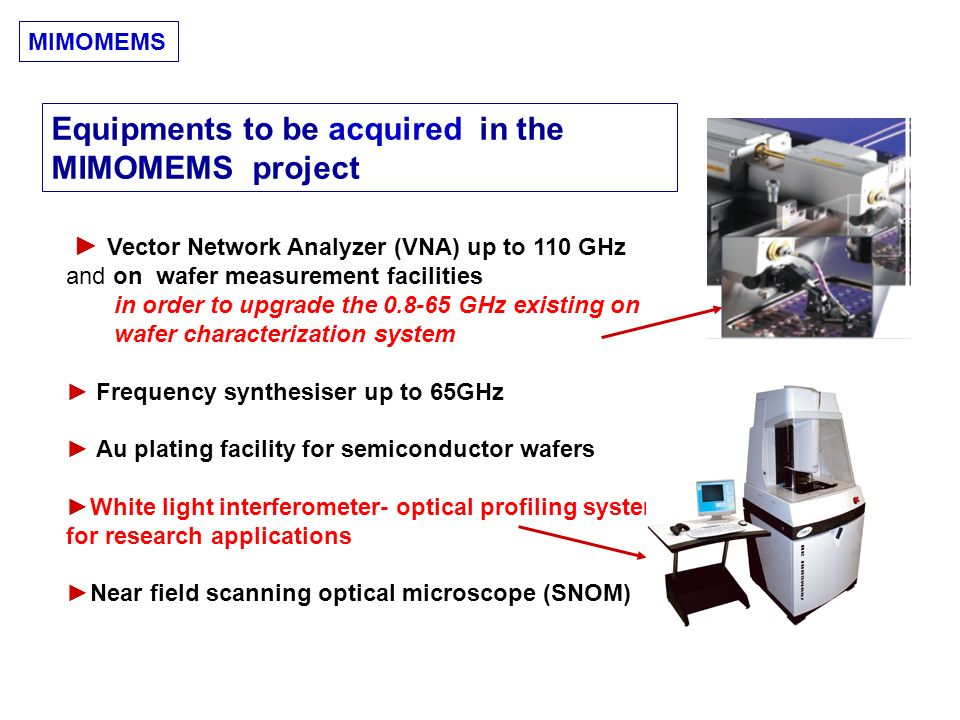Vector Network Analyzer (VNA) up to 110 GHz and on wafer measurement facilities in order to upgrade the 0.8-65 GHz existing on wafer characterization