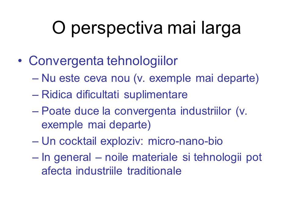 O perspectiva mai larga Convergenta tehnologiilor –Nu este ceva nou (v. exemple mai departe) –Ridica dificultati suplimentare –Poate duce la convergen