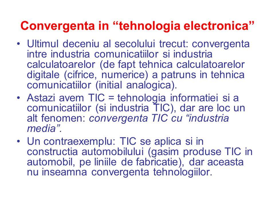Convergenta in tehnologia electronica Ultimul deceniu al secolului trecut: convergenta intre industria comunicatiilor si industria calculatoarelor (de