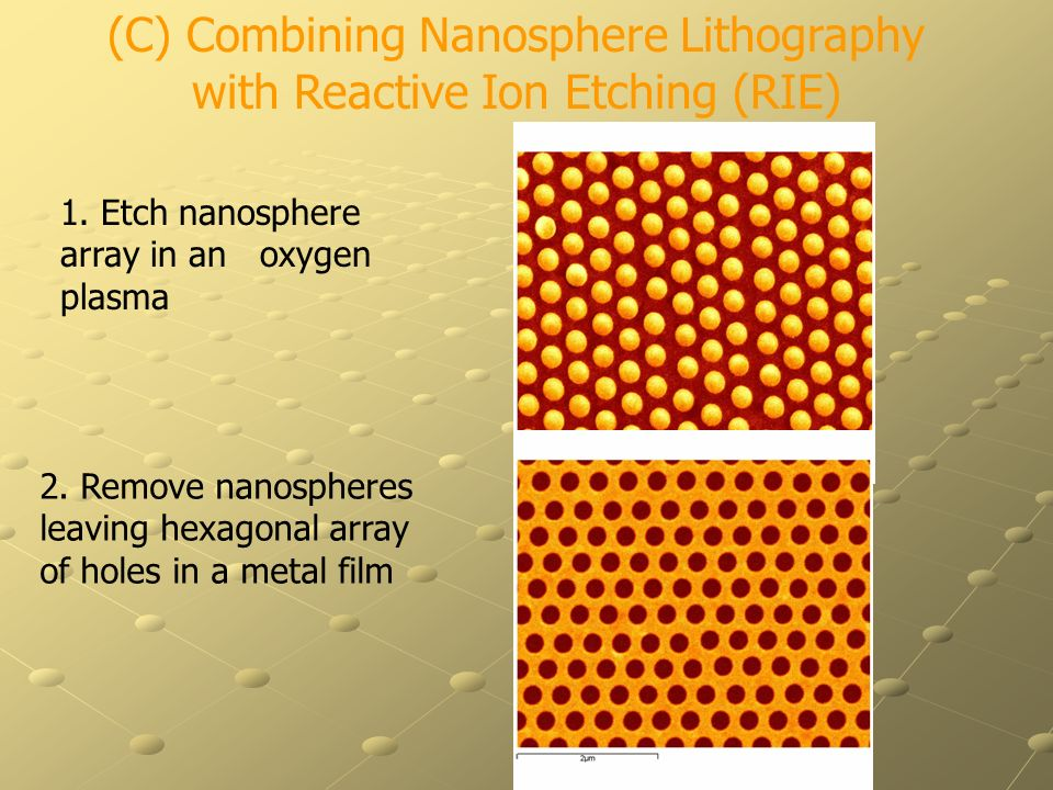 (C) Combining Nanosphere Lithography with Reactive Ion Etching (RIE) 2. Remove nanospheres leaving hexagonal array of holes in a metal film 1. Etch na