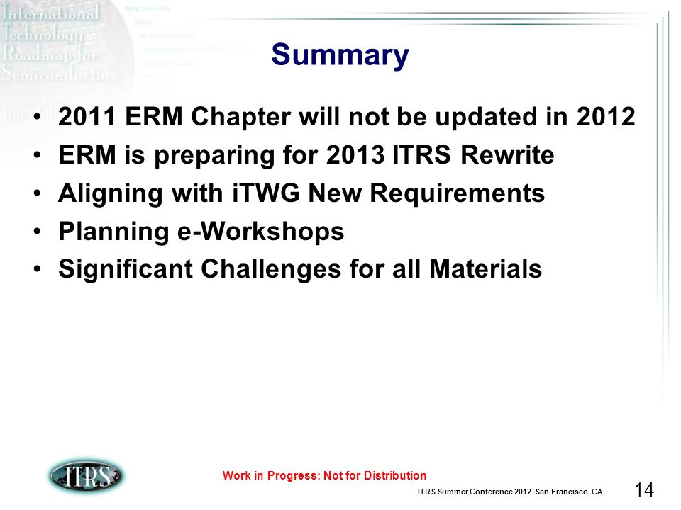 ITRS Summer Conference 2012 San Francisco, CA Work in Progress: Not for Distribution 14 Summary 2011 ERM Chapter will not be updated in 2012 ERM is pr