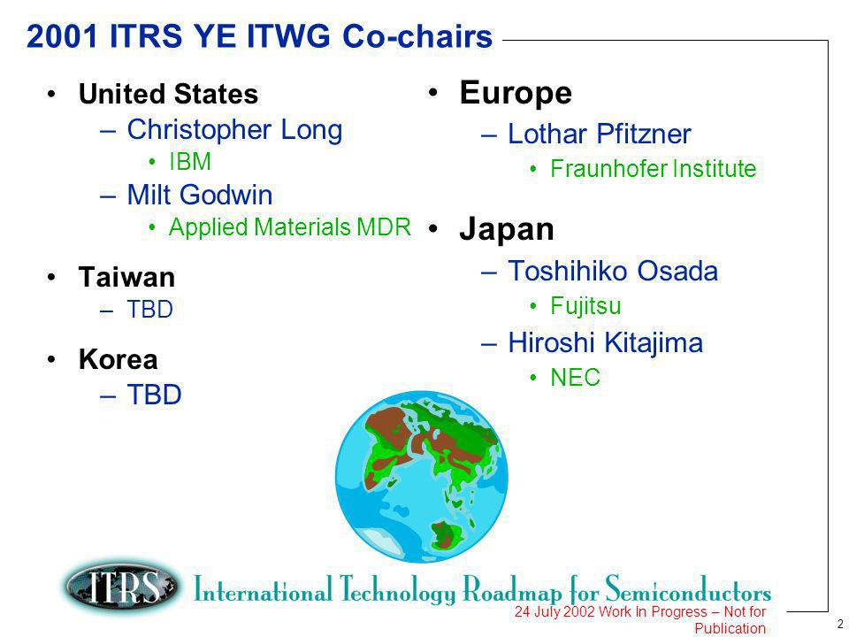 2 24 July 2002 Work In Progress – Not for Publication 2001 ITRS YE ITWG Co-chairs United States –Christopher Long IBM –Milt Godwin Applied Materials M