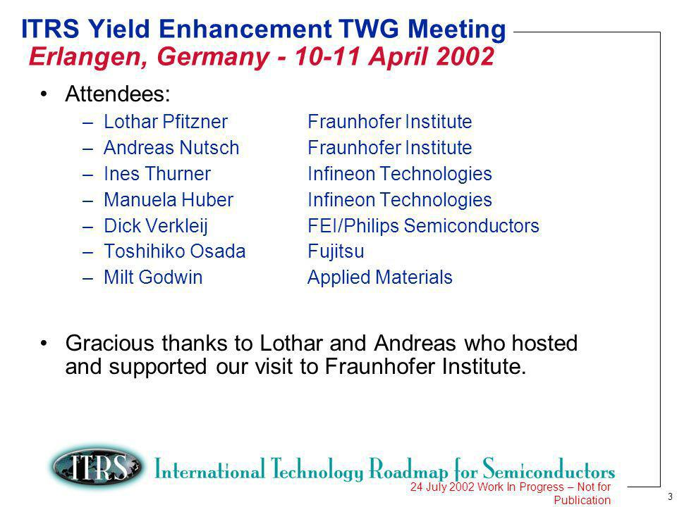 3 24 July 2002 Work In Progress – Not for Publication ITRS Yield Enhancement TWG Meeting Erlangen, Germany - 10-11 April 2002 Attendees: –Lothar PfitznerFraunhofer Institute –Andreas NutschFraunhofer Institute –Ines ThurnerInfineon Technologies –Manuela HuberInfineon Technologies –Dick VerkleijFEI/Philips Semiconductors –Toshihiko OsadaFujitsu –Milt GodwinApplied Materials Gracious thanks to Lothar and Andreas who hosted and supported our visit to Fraunhofer Institute.