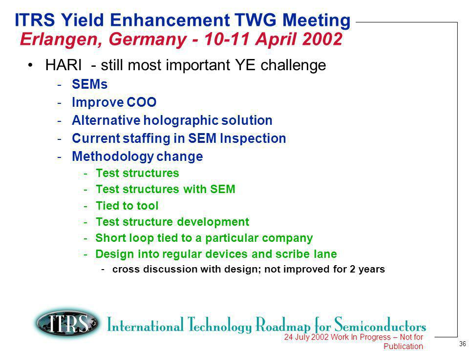 36 24 July 2002 Work In Progress – Not for Publication ITRS Yield Enhancement TWG Meeting Erlangen, Germany - 10-11 April 2002 HARI - still most important YE challenge -SEMs -Improve COO -Alternative holographic solution -Current staffing in SEM Inspection -Methodology change -Test structures -Test structures with SEM -Tied to tool -Test structure development -Short loop tied to a particular company -Design into regular devices and scribe lane -cross discussion with design; not improved for 2 years