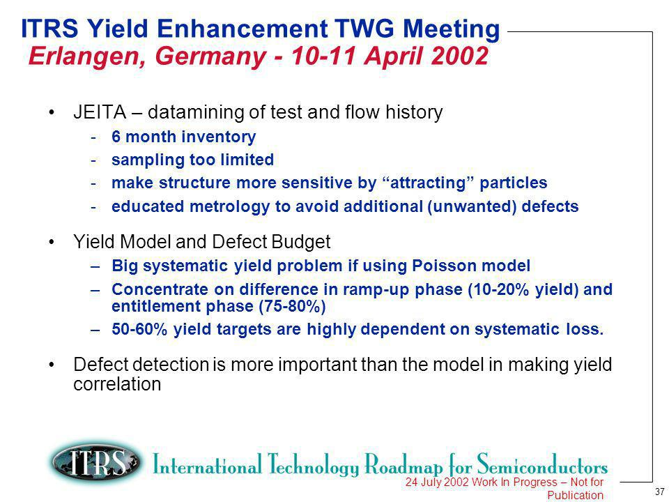 37 24 July 2002 Work In Progress – Not for Publication ITRS Yield Enhancement TWG Meeting Erlangen, Germany April 2002 JEITA – datamining of test and flow history -6 month inventory -sampling too limited -make structure more sensitive by attracting particles -educated metrology to avoid additional (unwanted) defects Yield Model and Defect Budget –Big systematic yield problem if using Poisson model –Concentrate on difference in ramp-up phase (10-20% yield) and entitlement phase (75-80%) –50-60% yield targets are highly dependent on systematic loss.