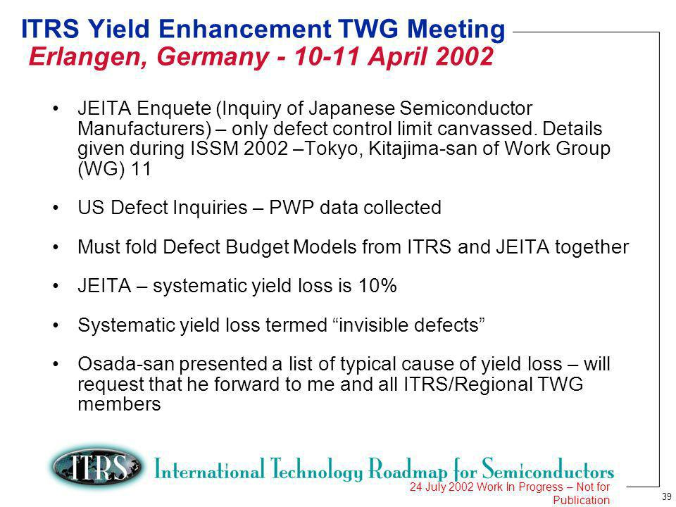 39 24 July 2002 Work In Progress – Not for Publication ITRS Yield Enhancement TWG Meeting Erlangen, Germany - 10-11 April 2002 JEITA Enquete (Inquiry of Japanese Semiconductor Manufacturers) – only defect control limit canvassed.