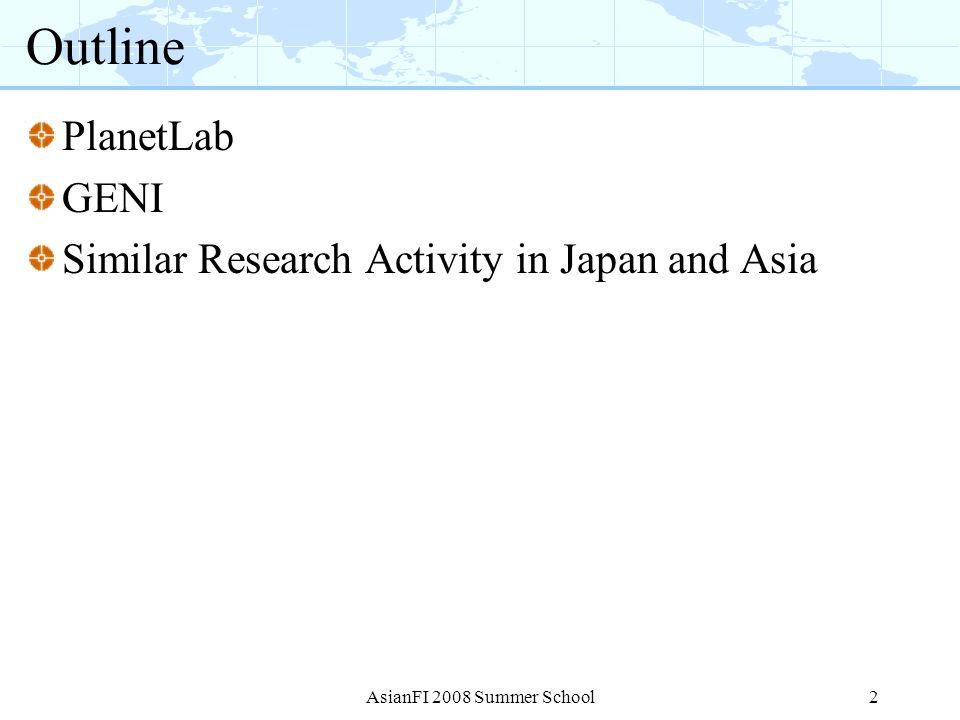 AsianFI 2008 Summer School13 How to use GENI: A bright idea I have a great idea.