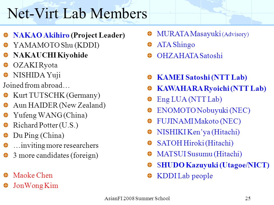 Net-Virt Lab Members NAKAO Akihiro (Project Leader) YAMAMOTO Shu (KDDI) NAKAUCHI Kiyohide OZAKI Ryota NISHIDA Yuji Joined from abroad… Kurt TUTSCHK (G