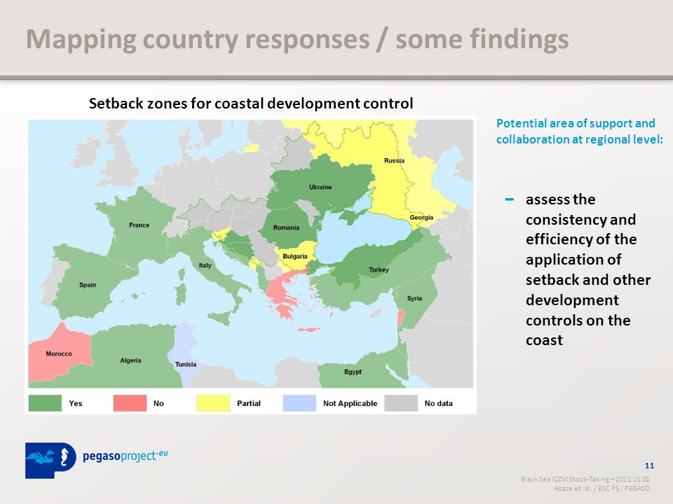 Mapping country responses / some findings 11 Black Sea ICZM Stock-Taking – 2011.11.02 Abaza et.