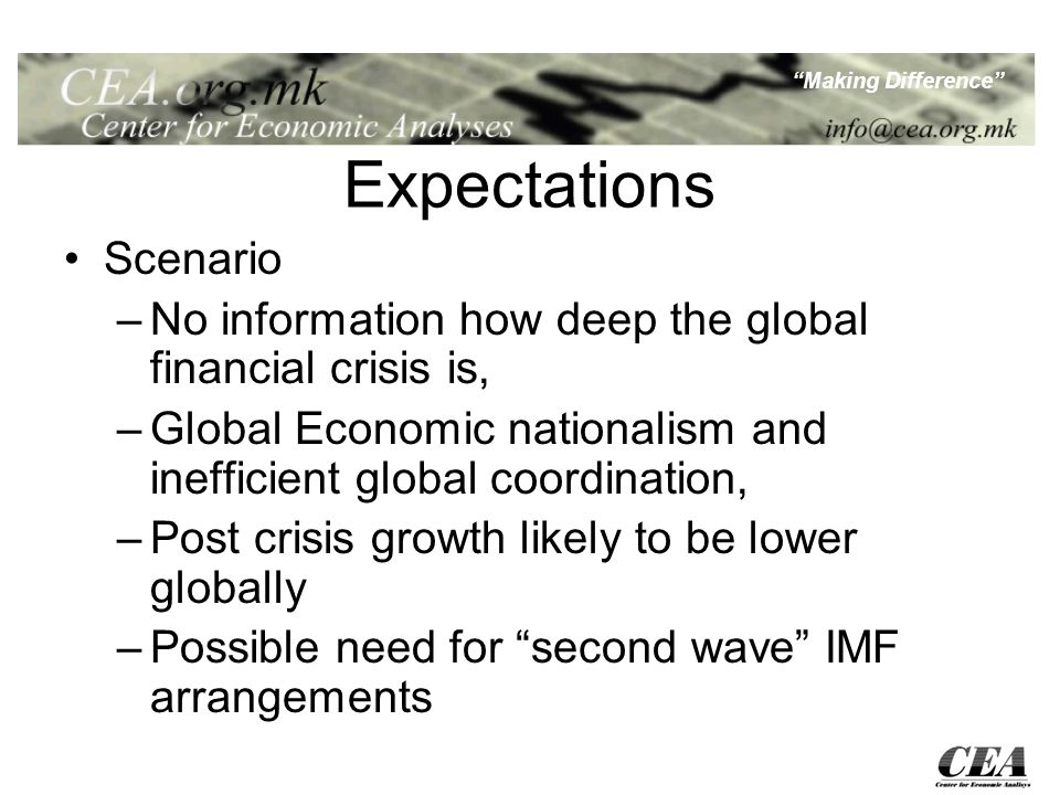 Making Difference Expectations Scenario –No information how deep the global financial crisis is, –Global Economic nationalism and inefficient global coordination, –Post crisis growth likely to be lower globally –Possible need for second wave IMF arrangements