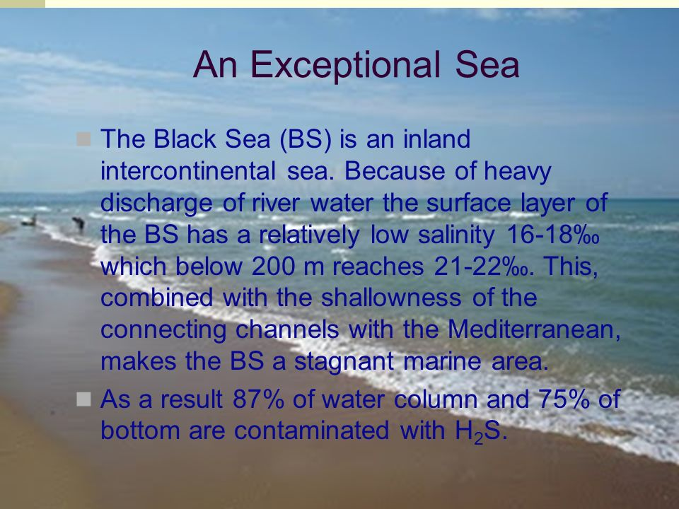 An Exceptional Sea The Black Sea (BS) is an inland intercontinental sea.