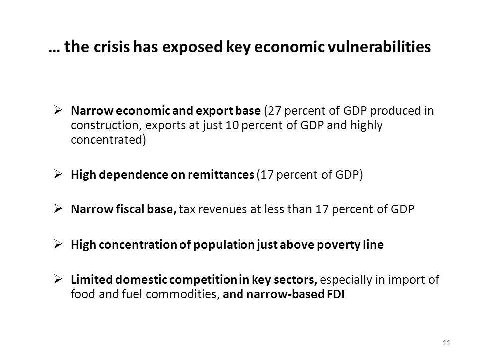 11 … th e crisis has exposed key economic vulnerabilities Narrow economic and export base (27 percent of GDP produced in construction, exports at just
