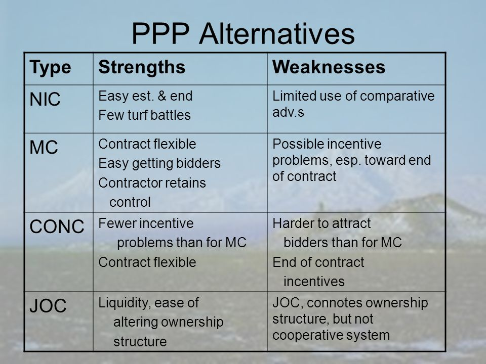 PPP Alternatives TypeStrengthsWeaknesses NIC Easy est.