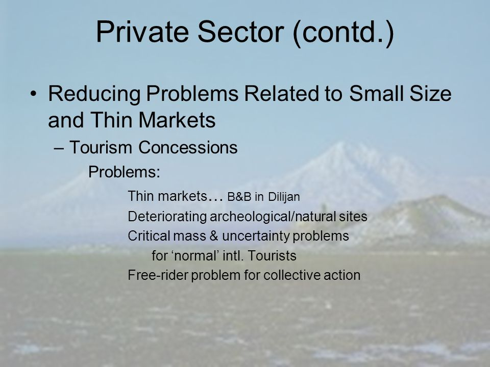 Private Sector (contd.) Reducing Problems Related to Small Size and Thin Markets –Tourism Concessions Problems: Thin markets … B&B in Dilijan Deteriorating archeological/natural sites Critical mass & uncertainty problems for normal intl.