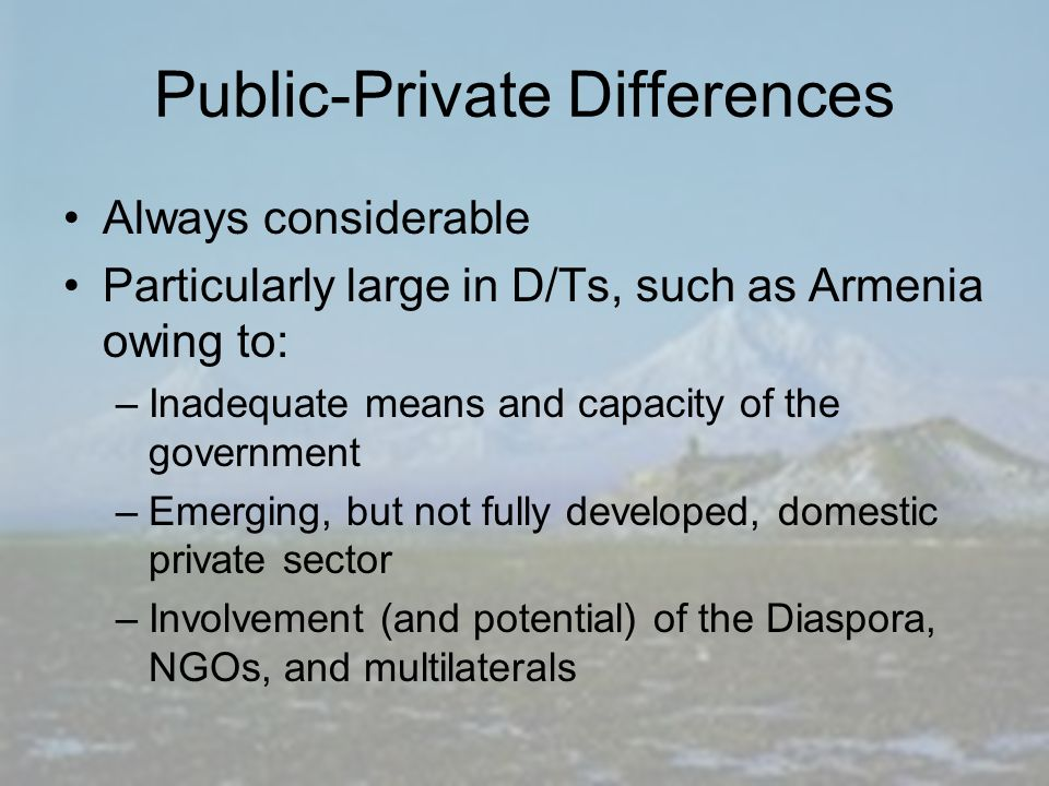 Public-Private Differences Always considerable Particularly large in D/Ts, such as Armenia owing to: –Inadequate means and capacity of the government –Emerging, but not fully developed, domestic private sector –Involvement (and potential) of the Diaspora, NGOs, and multilaterals