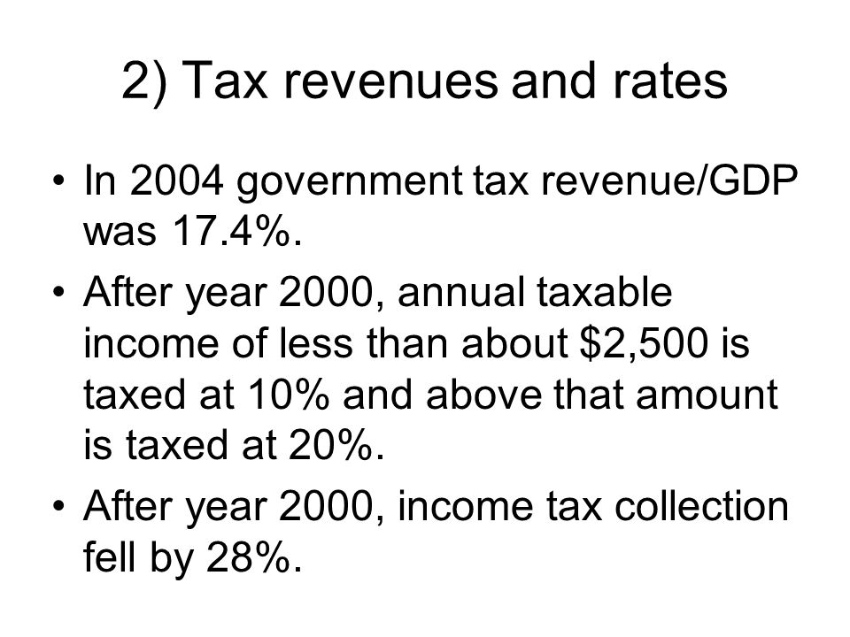 2) Tax revenues and rates In 2004 government tax revenue/GDP was 17.4%.