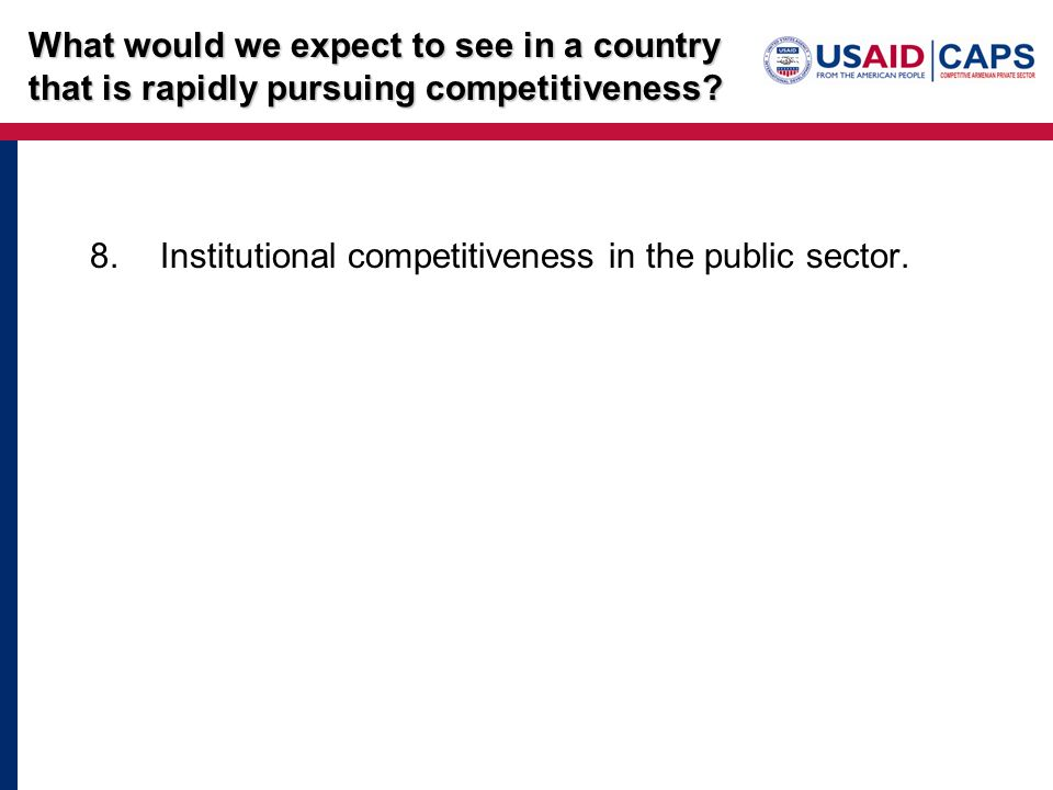 8.Institutional competitiveness in the public sector. What would we expect to see in a country that is rapidly pursuing competitiveness?
