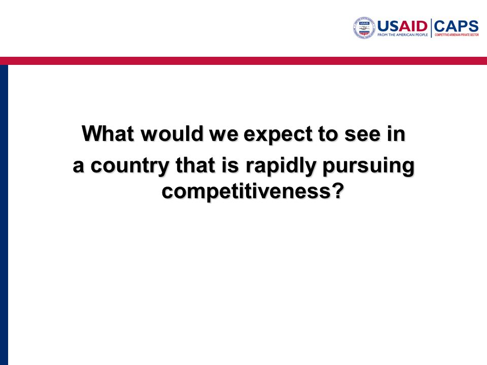 What would we expect to see in a country that is rapidly pursuing competitiveness?