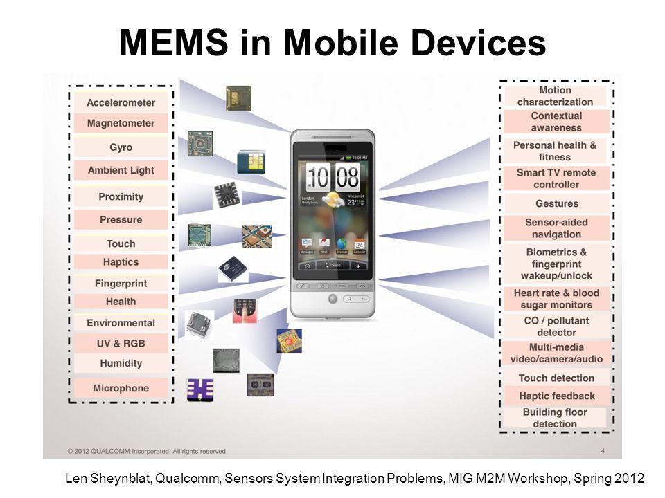 Len Sheynblat, Qualcomm, Sensors System Integration Problems, MIG M2M Workshop, Spring 2012 MEMS in Mobile Devices