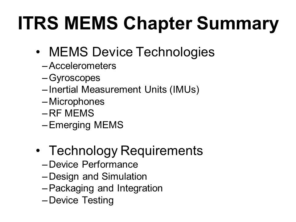 ITRS MEMS Chapter Summary MEMS Device Technologies –Accelerometers –Gyroscopes –Inertial Measurement Units (IMUs) –Microphones –RF MEMS –Emerging MEMS