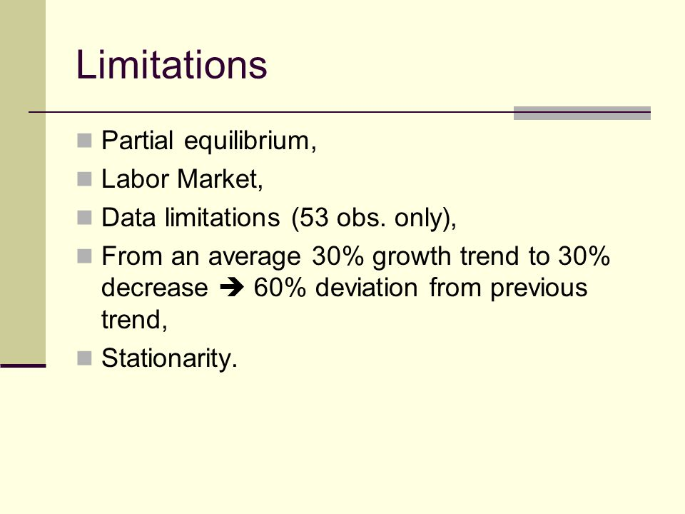 Limitations Partial equilibrium, Labor Market, Data limitations (53 obs.