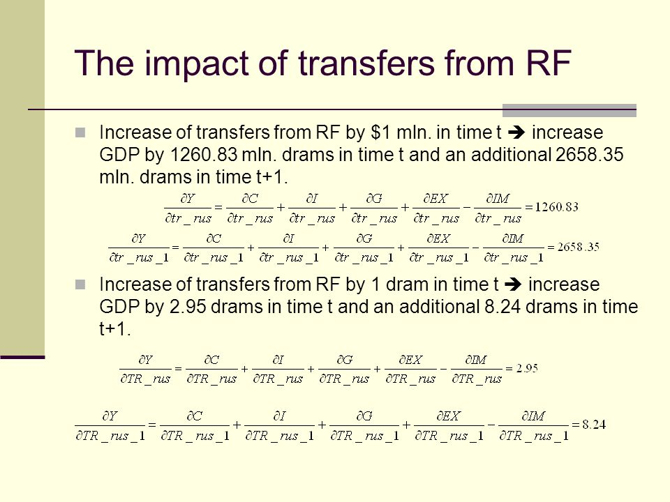 The impact of transfers from RF Increase of transfers from RF by $1 mln.