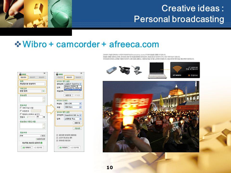 Creative ideas : Personal broadcasting Wibro + camcorder + afreeca.com 10
