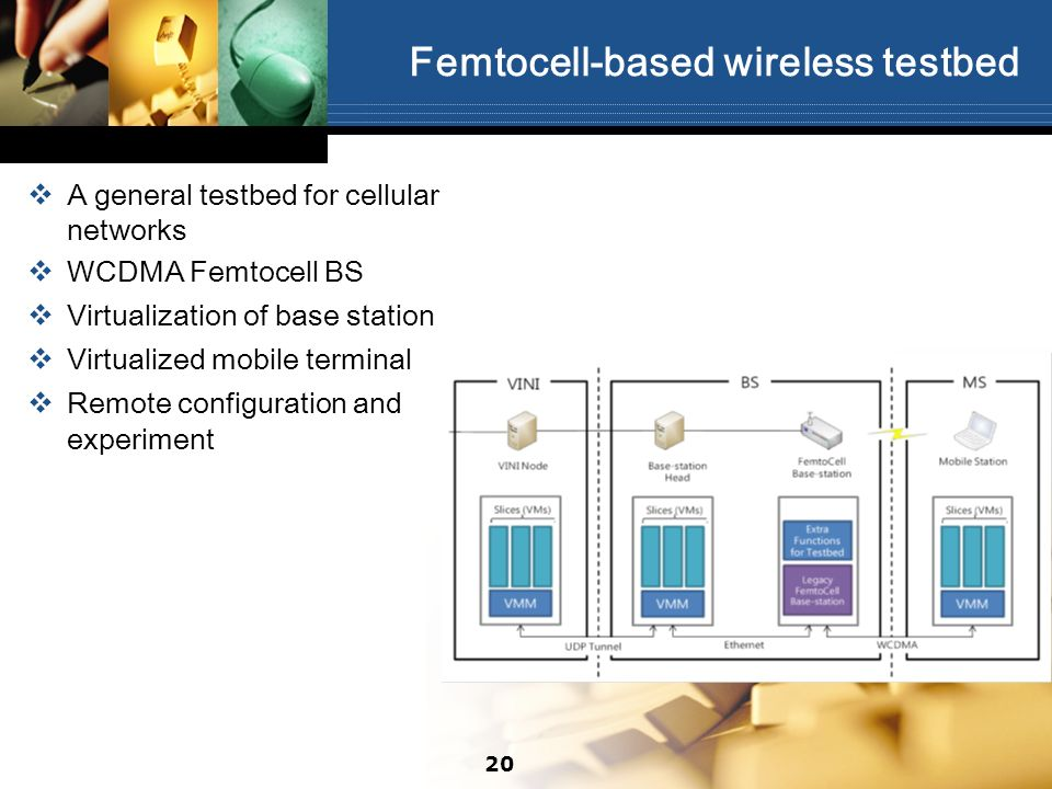 Femtocell-based wireless testbed A general testbed for cellular networks WCDMA Femtocell BS Virtualization of base station Virtualized mobile terminal
