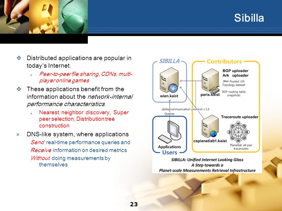 Sibilla Distributed applications are popular in todays Internet. » Peer-to-peer file sharing, CDNs, multi- player online games These applications bene