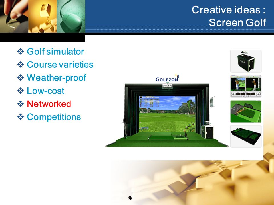 Creative ideas : Screen Golf Golf simulator Course varieties Weather-proof Low-cost Networked Competitions 9