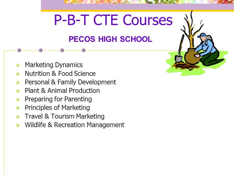 P-B-T CTE Courses Marketing Dynamics Nutrition & Food Science Personal & Family Development Plant & Animal Production Preparing for Parenting Principles of Marketing Travel & Tourism Marketing Wildlife & Recreation Management PECOS HIGH SCHOOL