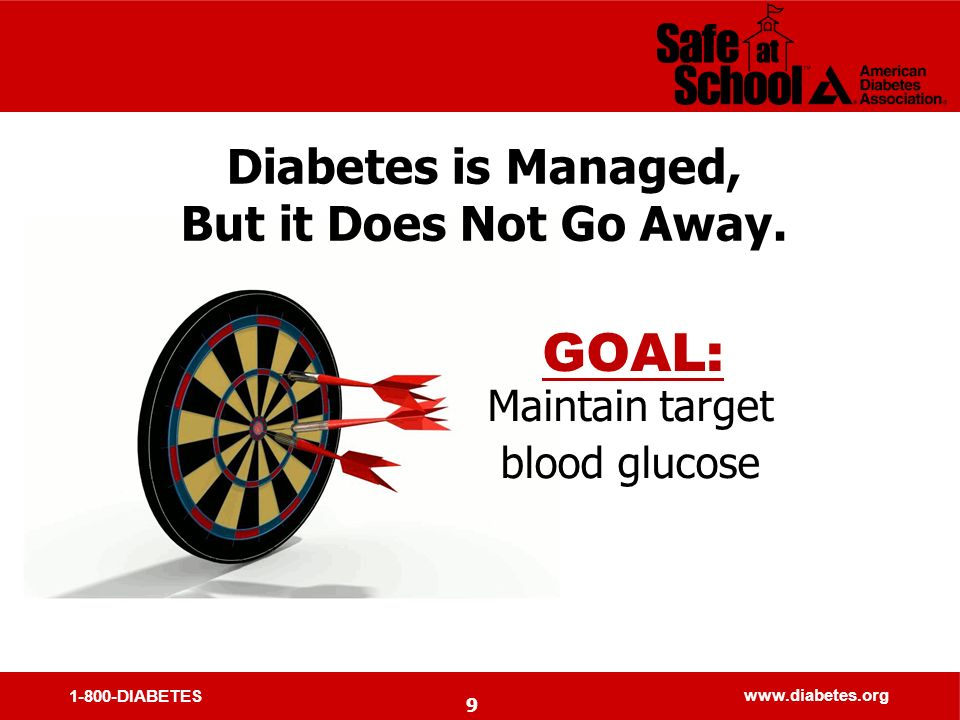 1-800-DIABETES www.diabetes.org 9 Diabetes is Managed, But it Does Not Go Away.
