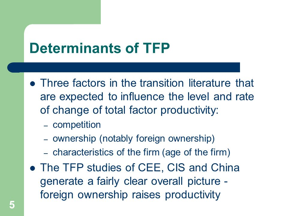 5 Determinants of TFP Three factors in the transition literature that are expected to influence the level and rate of change of total factor productivity: – competition – ownership (notably foreign ownership) – characteristics of the firm (age of the firm) The TFP studies of CEE, CIS and China generate a fairly clear overall picture - foreign ownership raises productivity