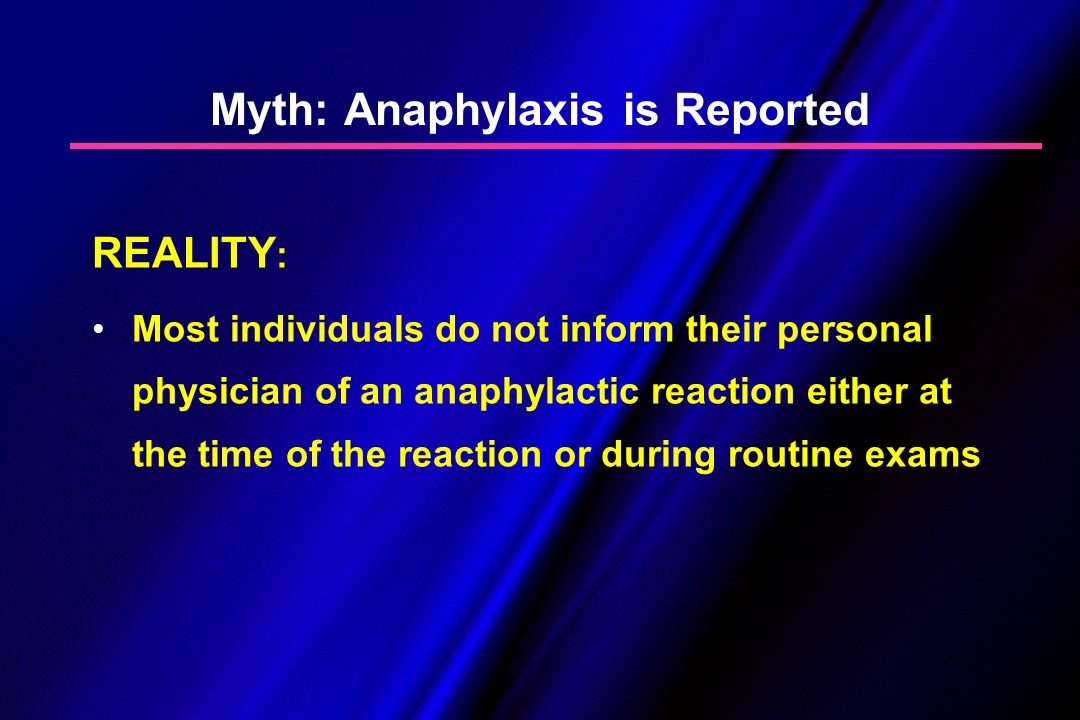 Myth: Anaphylaxis is Reported REALITY : Most individuals do not inform their personal physician of an anaphylactic reaction either at the time of the
