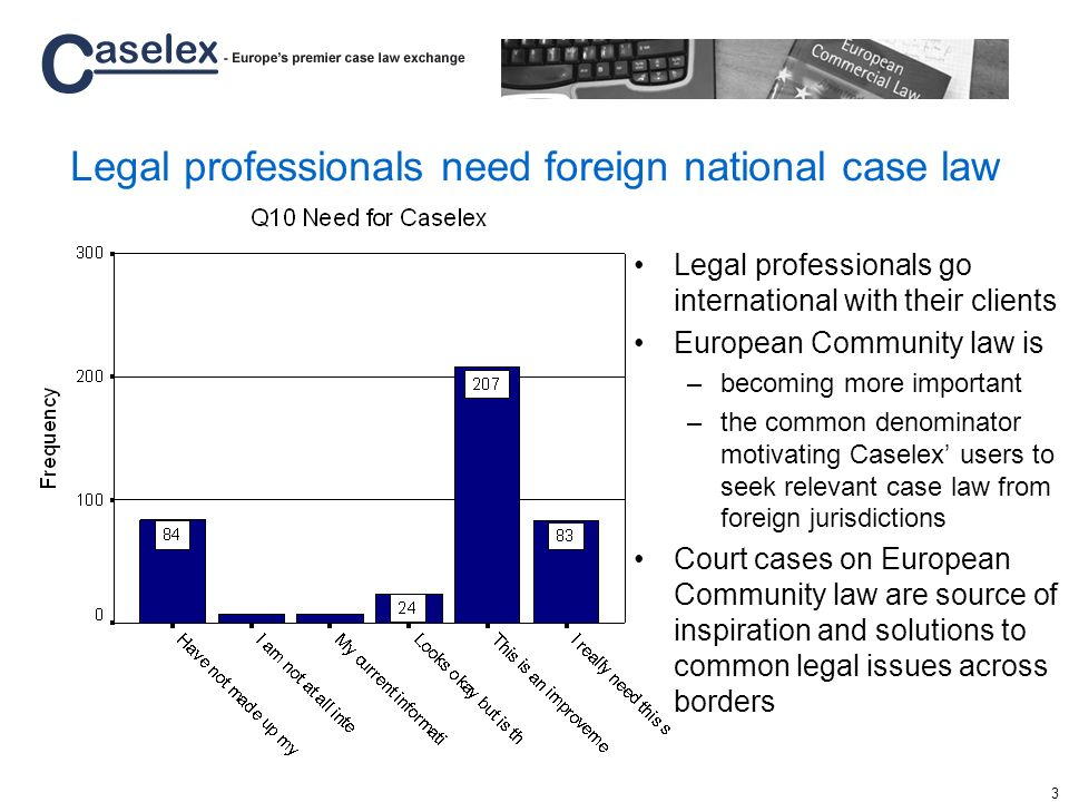 4 Service will bring important cases without need for multilingual and multinational legal skills Court cases from national Supreme and higher/special courts linked to European Community law –Aim to cover all EU and EFTA States –Will also cover European Court of Justice and Court of First Instance, next to the EFTA Court of Justice Commercial areas of law starting point –Competition law –Company law –IPR –eCommerce –etc Up to date on, and timely delivery of, current cases –Will steadily add historical cases –Archive contains currently 500+ cases