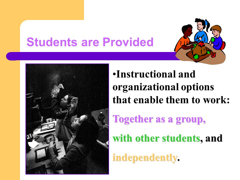 Students are Provided Instructional and organizational options that enable them to work: Together as a group, with other students, and independently.