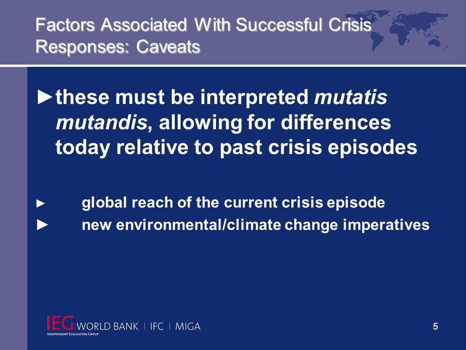 6 Factors Associated With Successful Crisis Responses: Speed With Quality, Focus, And Selectivity Keep Coverage Selective more focused operations performed better (e.g., financial sector) Focus policy dialogue and policy measures supported by lending (conditionality) on areas of comparative strength, notably financial sector (mixed record in past), public finance and public sector (generally strong) corporate restructuring (less successful in past, beware of interactions with macro – e.g.