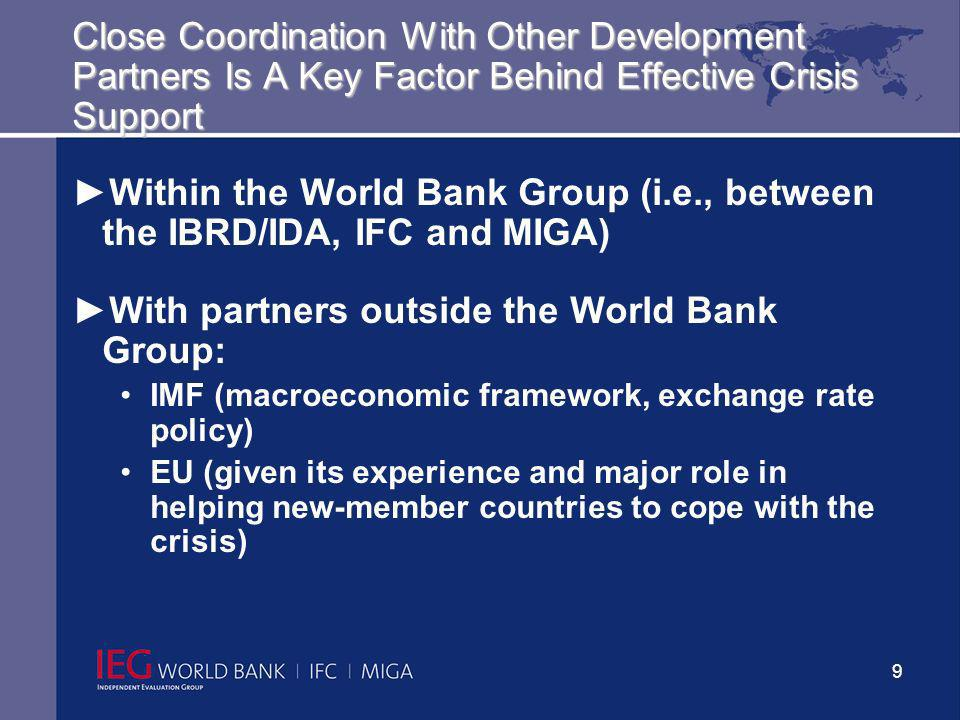 10 Internal Organizational Crisis Response Arrangements Matter A Great Deal Internal organizational arrangements seek agility and timeliness of crisis response, cross-sector collaboration, access to appropriate instruments, and accountability In late 1990s the World Bank set up a Special Financial Operations Group -- to respond to the East Asian crisis.