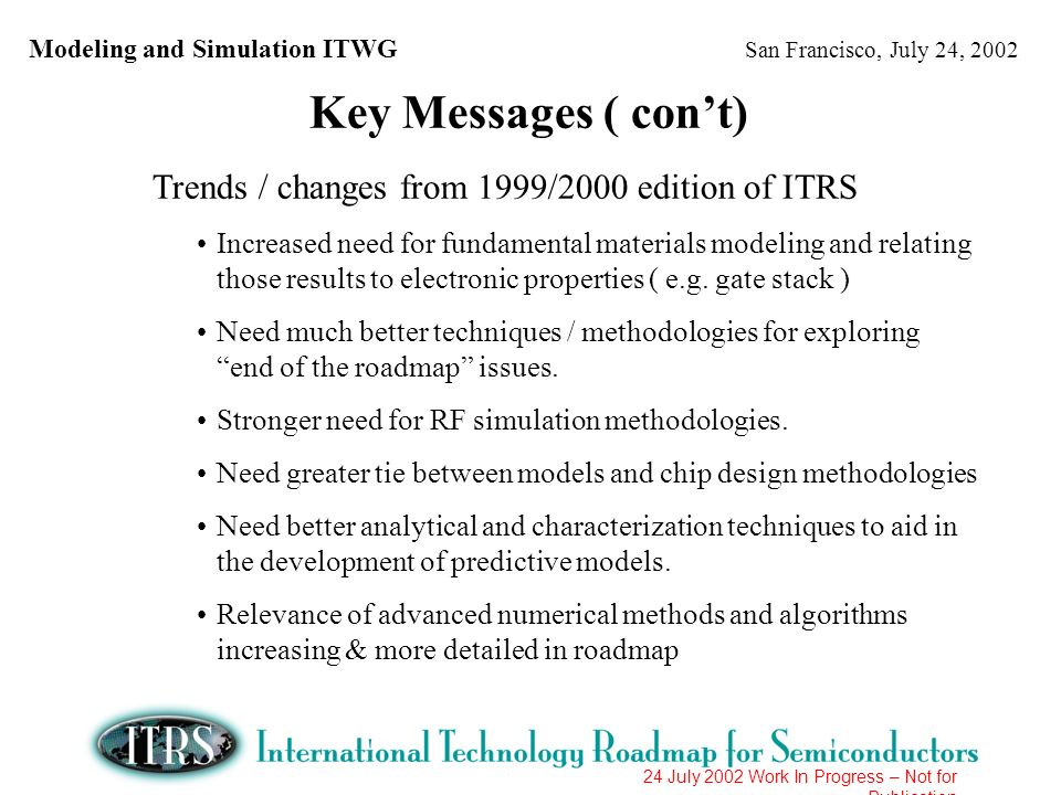 Modeling and Simulation ITWG San Francisco, July 24, 2002 24 July 2002 Work In Progress – Not for Publication Trends / changes from 2001 edition of ITRS New long-term challenge Compact modeling including more physical models and statistics Two long-term challenges extended in scope Adapt summary of issues in challenges list to current technical progress and update of requirements (e.g.