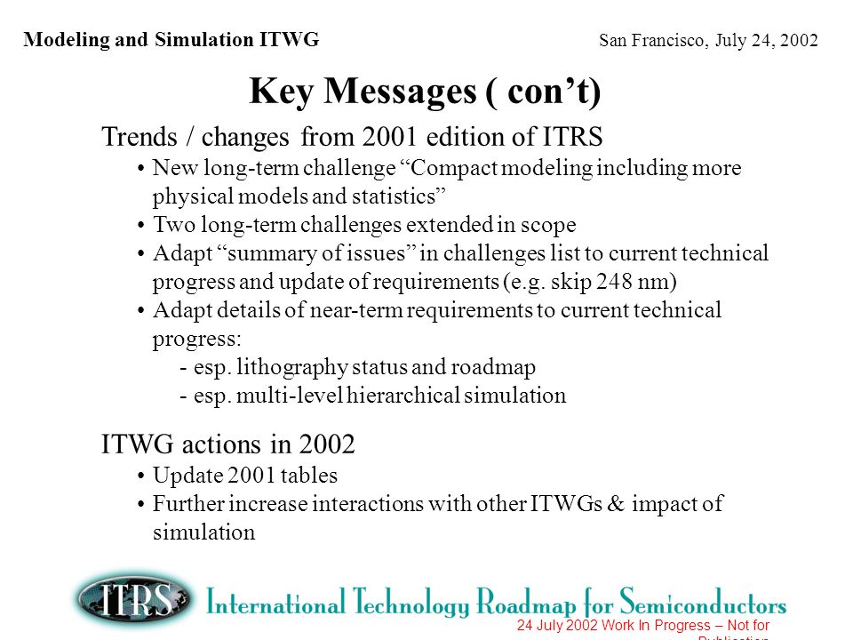 Modeling and Simulation ITWG San Francisco, July 24, 2002 24 July 2002 Work In Progress – Not for Publication Difficult Challenges > 65 nm (I)