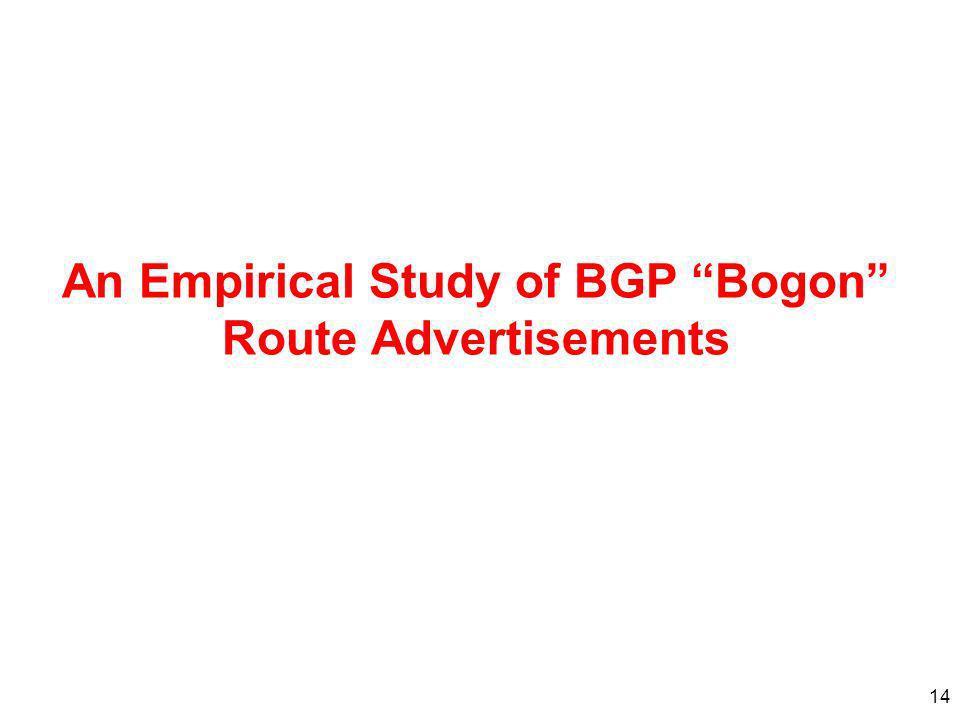 14 An Empirical Study of BGP Bogon Route Advertisements