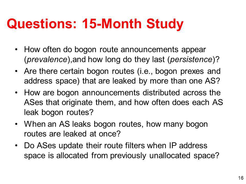 16 Questions: 15-Month Study How often do bogon route announcements appear (prevalence),and how long do they last (persistence)? Are there certain bog