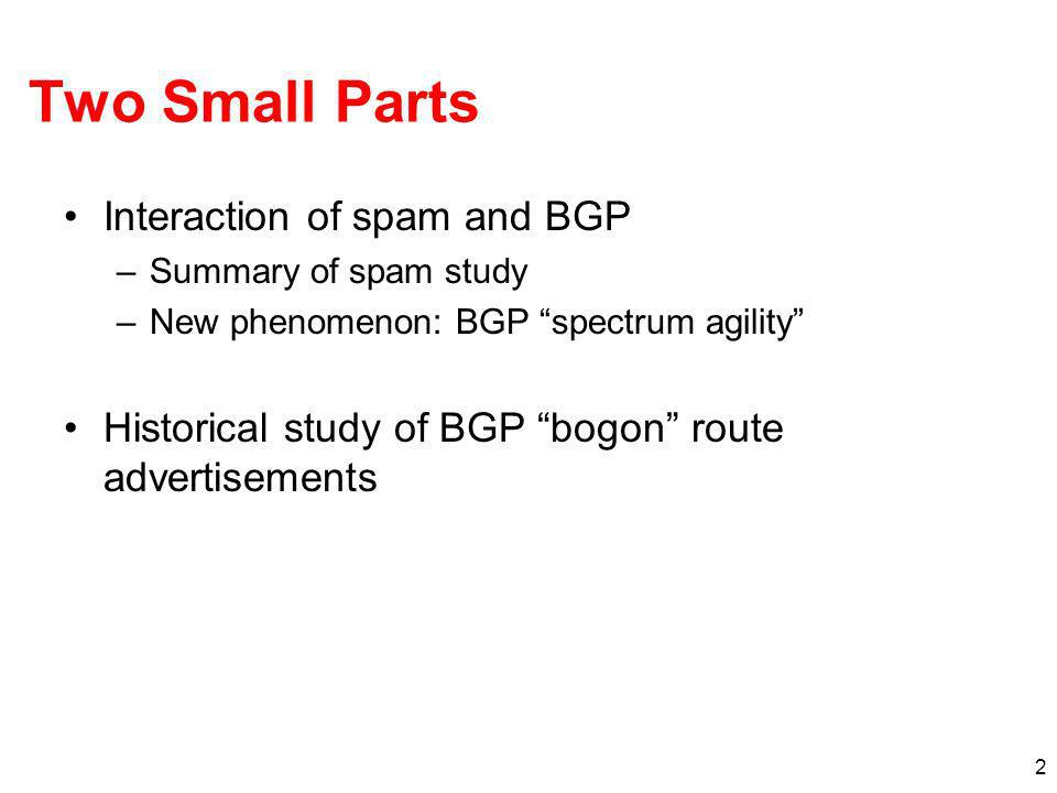 2 Two Small Parts Interaction of spam and BGP –Summary of spam study –New phenomenon: BGP spectrum agility Historical study of BGP bogon route adverti