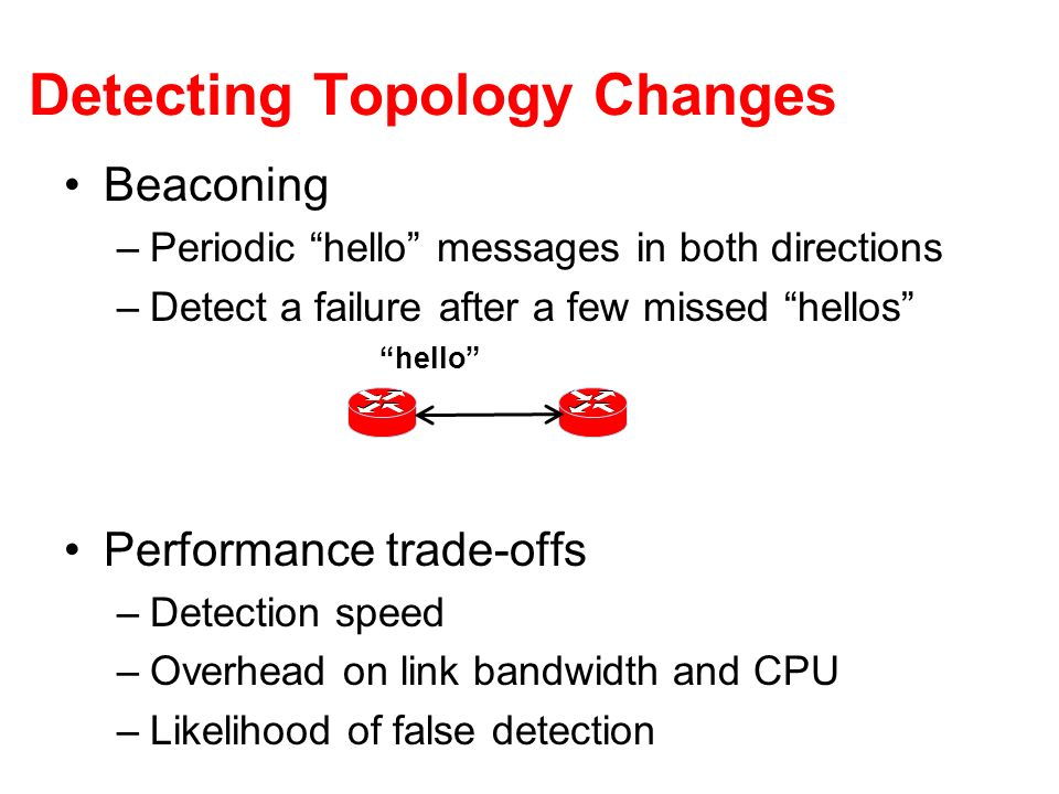 Detecting Topology Changes Beaconing –Periodic hello messages in both directions –Detect a failure after a few missed hellos Performance trade-offs –D