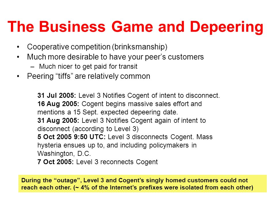 The Business Game and Depeering Cooperative competition (brinksmanship) Much more desirable to have your peers customers –Much nicer to get paid for t