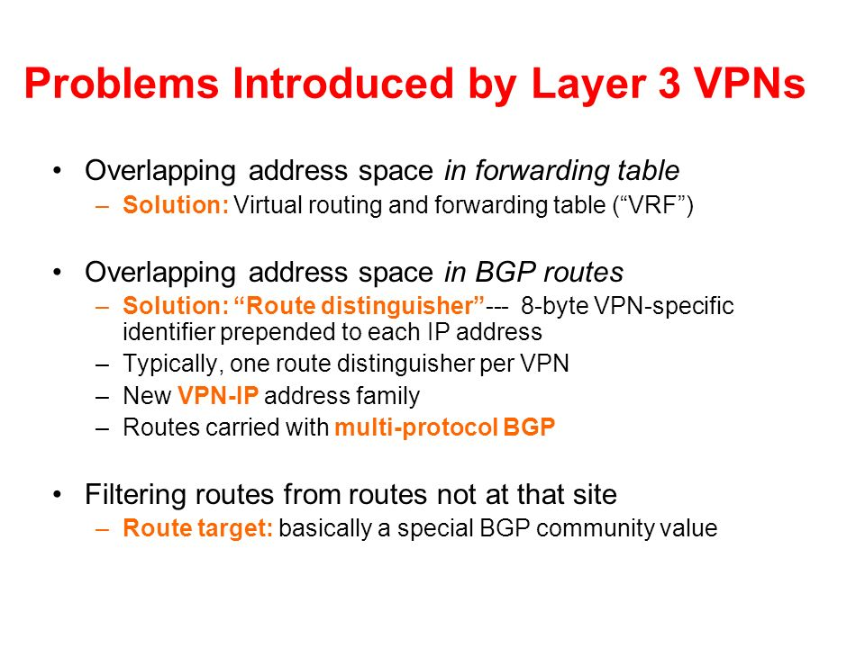 Problems Introduced by Layer 3 VPNs Overlapping address space in forwarding table –Solution: Virtual routing and forwarding table (VRF) Overlapping ad