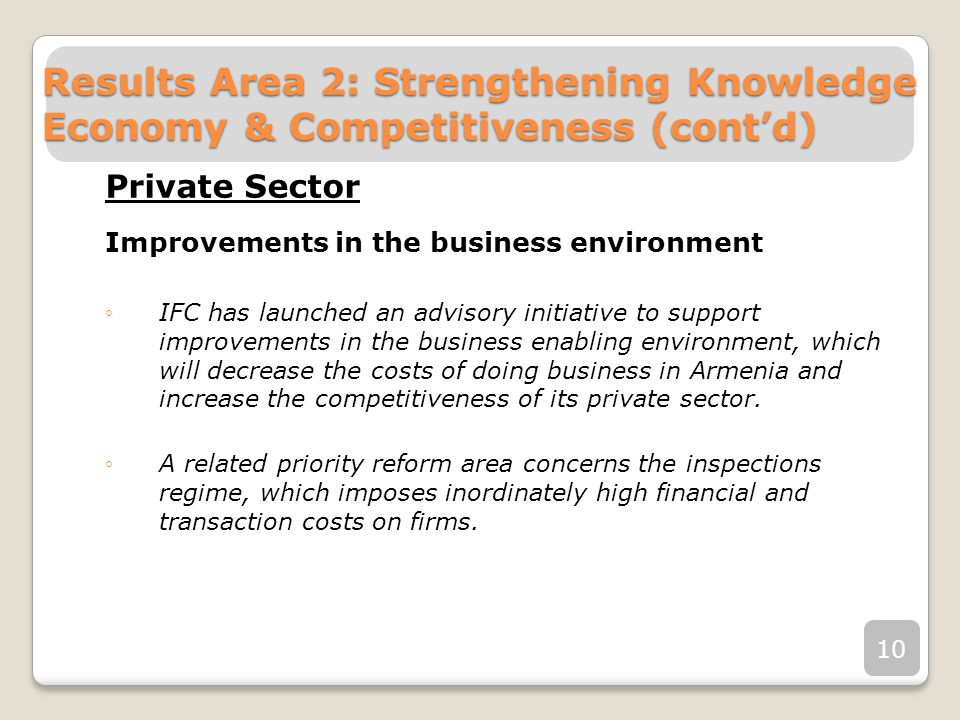 Private Sector Improvements in the business environment IFC has launched an advisory initiative to support improvements in the business enabling envir