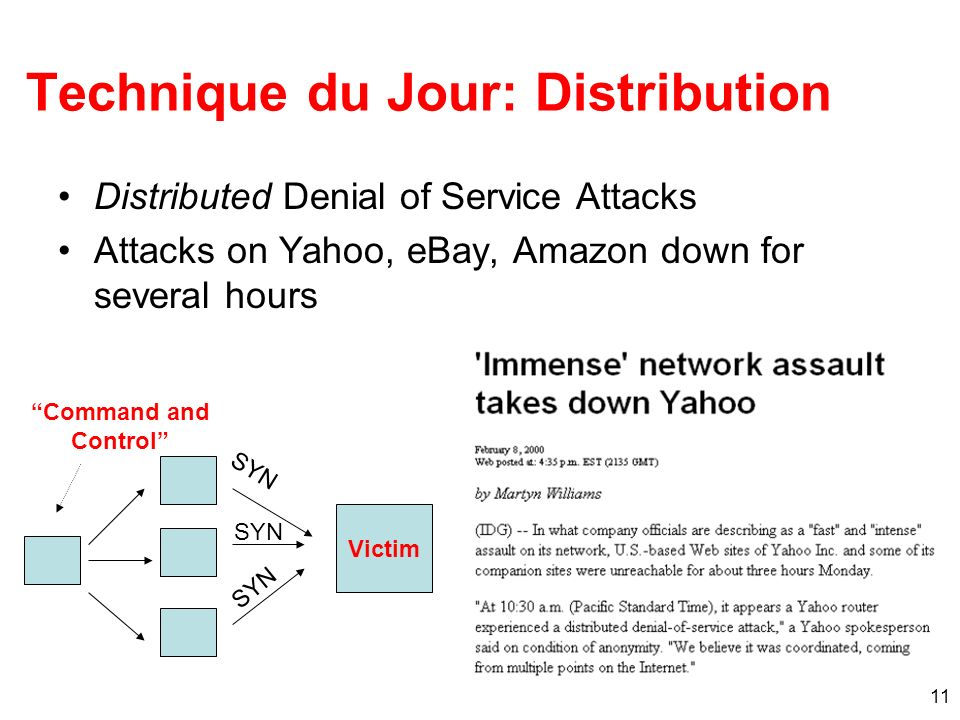 11 Technique du Jour: Distribution Distributed Denial of Service Attacks Attacks on Yahoo, eBay, Amazon down for several hours Victim SYN Command and